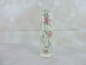 Vintage-Porcelain-Prima-Floral-Design-6-5-034-Vase-Faux-Gold-Rimmed-Otagiri-Japan