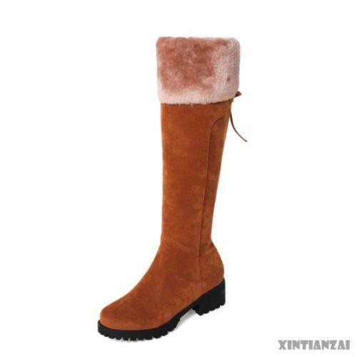 Womens Flat Round Toe Side Zipper Snow Boots Knee High Winter Warm Fashion 2019