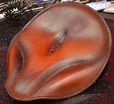 """Bobber Chopper Custom leather handmade Solo Seat /""""Oldtimer light tan/"""" size S"""