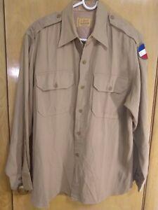 1940/'s men/'s blue cotton gabardine cotton shirt