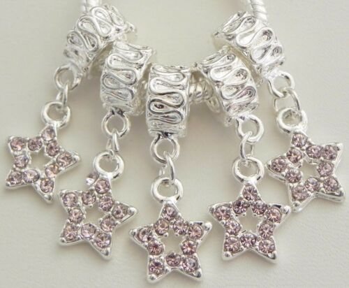 5 Dainty Pink Stone Star Charms Fit European Jewelry 6 27 mm /& 5 mm Hole  R109