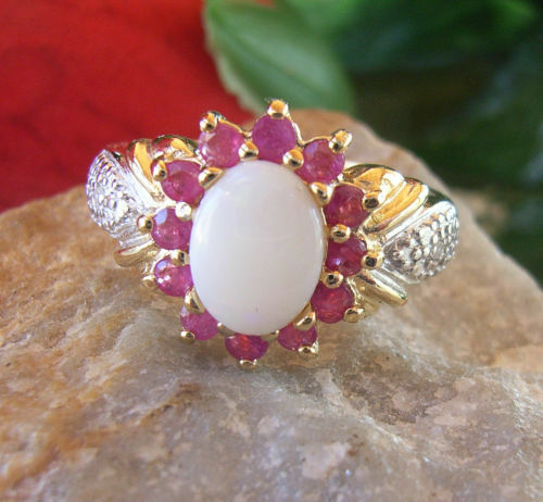 "RING GOLD YELLOW AND NATURAL OPAL GEM, RUBY DIAMONDS ORIGIN ""AFRICA"""