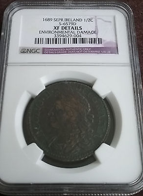 Able Ireland September 1689 1/2 Half Crown Slabbed Certified Graded Ngc Xf Devices Other Medieval Coins