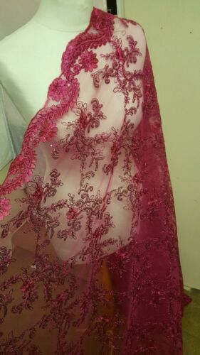 "1M hotpink l embroidered scalloped sequin bridal lace    DRESS FABRIC 45/"" WIDE"