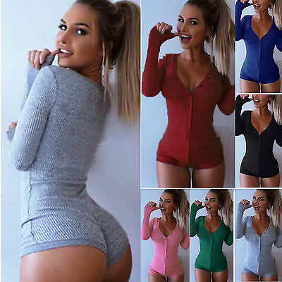 Womens Plunge V Neck Bodycon Yoga Bodysuit Playsuit Romper Sleeping Leotard Top