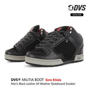 DVS-SHOES-MILITIA-Black-Leather-Boot-Eero-Ettala-Color-Skateboard-Shoes-Sneaker