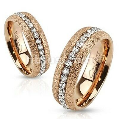 MEN & WOMEN Glittery Rose Gold IP Over Stainless Steel Ring with Clear CZ Center