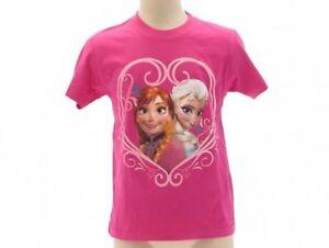 T-Shirt-Frozen-il-Regno-del-Ghiaccio-Originale-Disney-bianca-e-fucsia-belle
