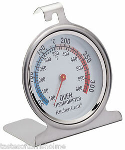 Kitchen-Craft-Stainless-Steel-Traditional-Degrees-In-C-amp-F-Dial-Oven-Thermometer