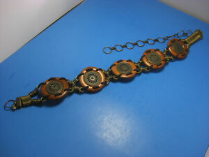 Vintage-Large-Chunky-Wood-Disc-Bronze-Tone-Medallion-Adjustable-Chain-Belt