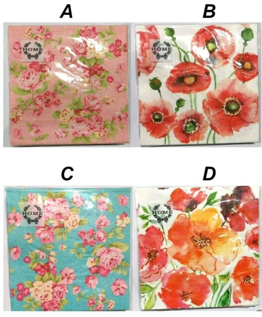 20X  NAPKINS SERVIETTES FLOWERS POPPIES 3PLY LUNCH DINNER PARTY WEDDING EVENTS