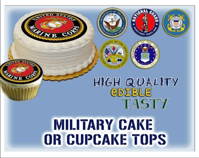 Military seals EDIBLE Cake Stickers Sugar topper paper decals cupcake veterans