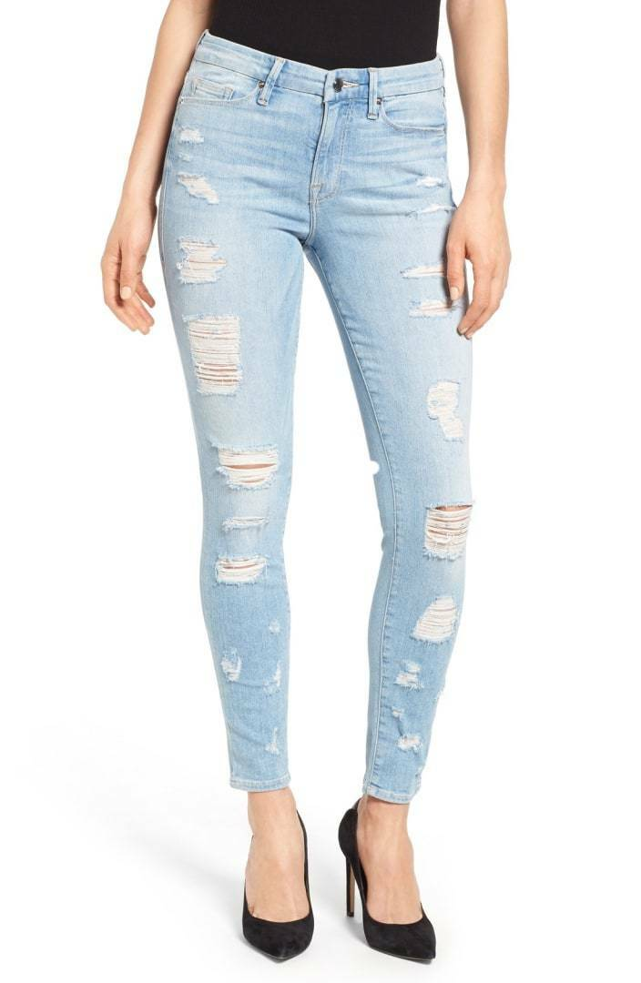 NWT Good American Good Legs High Rise Ripped GAGL899 bluee008 Jeans Size 6 28