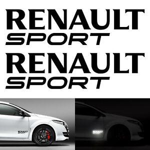 2-Stickers-Renault-Sport-Noir-Reflechissant-RS-GT-Clio-Megane-Twingo-Decals