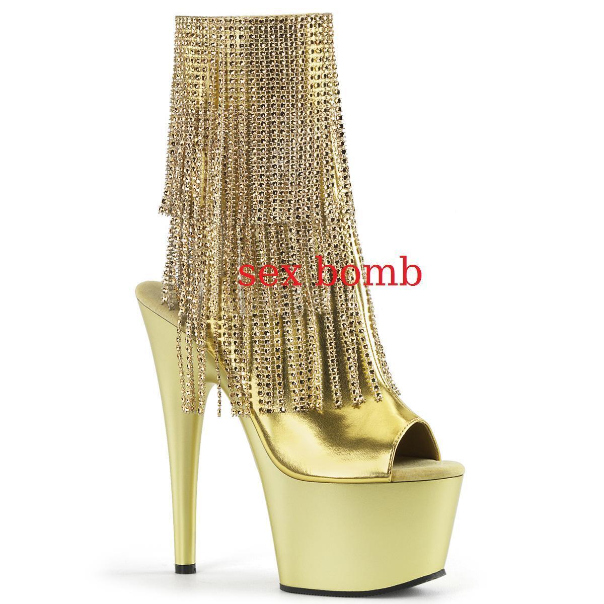 Sexy STIVALETTI FRANGE STRASS plateau spuntati tacco 18 dal 35 al 40 Gold glamour