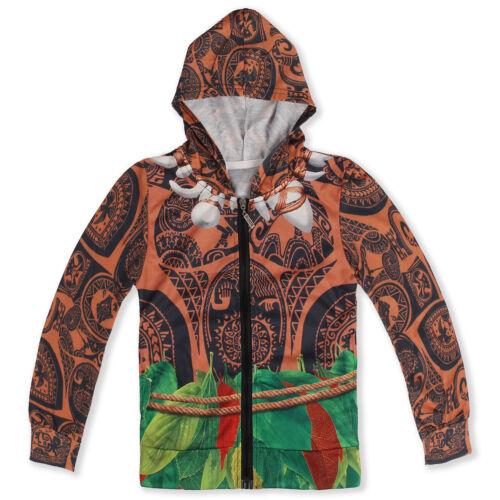 Moana Maui Sweatshirt Pullover Boys Long Sleeve Zipper Hoodies Outwear Jacket
