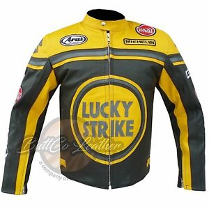 LUCKY-STRIKE-0113-moto-motard-course-jaune-cuir-protection-veste