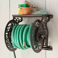 Garden Hose Reel Wall Mount Hanger Decorative Rack Storage 125 Ft Outdoor  Pipe