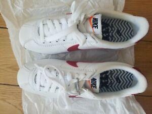 Nike-Women-039-s-Cortez-White-Varsity-Red-Leather-Sneakers-US-5-5-European-version