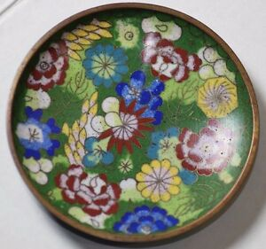 FLORAL CHINESE FAMILLE ROSE CLOISONNE HAND PAINTED SMALL DISH PLATE REPUBLIC