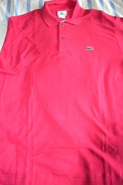 NWT LACOSTE Classic RASPBERRY LARGE 6 cotton MESH short sleeve POLO shirt