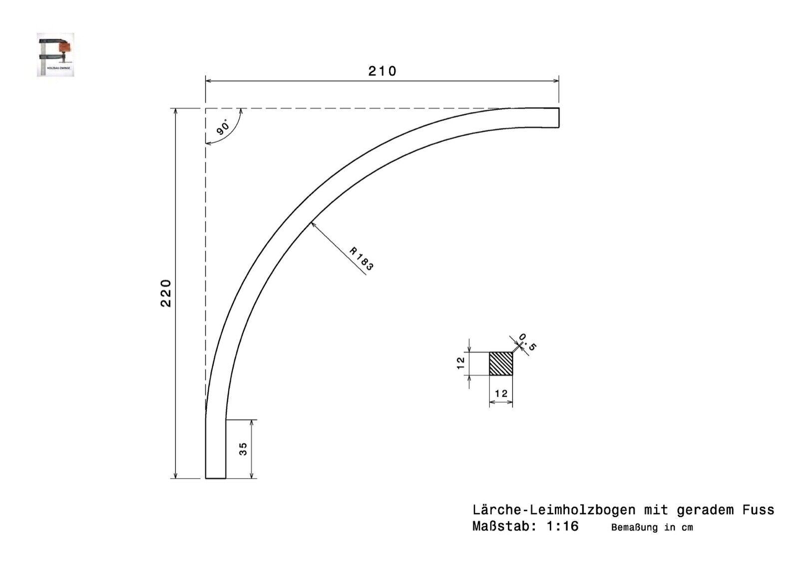 Massiv-Breit Lärche12x12 Leimholzbogen Leimbogen Rundbogen Holzbogen Carport