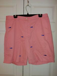 Men Vineyard Vines Pink Blue All Over Print Sharks Bermuda Shorts Size 38