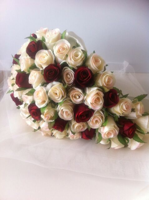 IVORY & RED ROSES TEARDROP 60 BUDS WEDDING  BOUQUET ARTIFICIAL SILK FLOWER