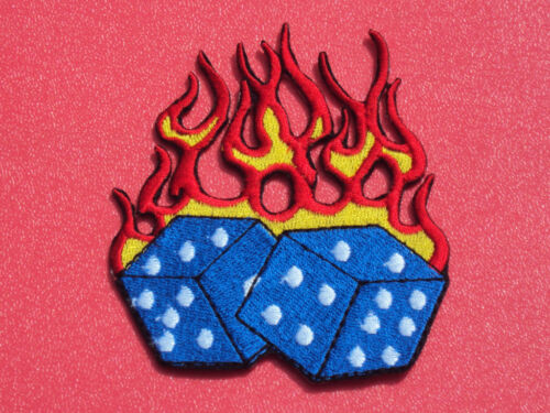FLAMING BLUE LUCKY VEGAS POKER DICE SEW//IRON ON PATCH