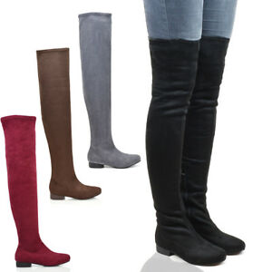 Womens-Thigh-High-Faux-Suede-Ladies-Tall-Stretch-Over-The-Knee-High-Boots-Size