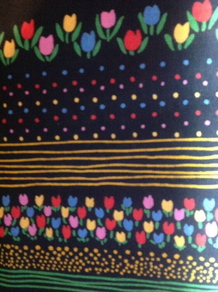 Mary Engelbreit Cotton Fabric Material Floral /& Polka Dot Print on Black BTY