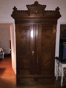 Bon Image Is Loading Antique Eastlake Armoire Wardrobe Cabinet 8 Feet Tall