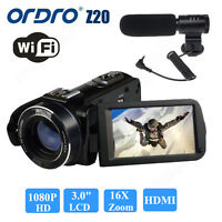 Ordro Z20 1080p Hd Digital Video Camera 24mp 16x 3.0 Touch Screen W/microphone