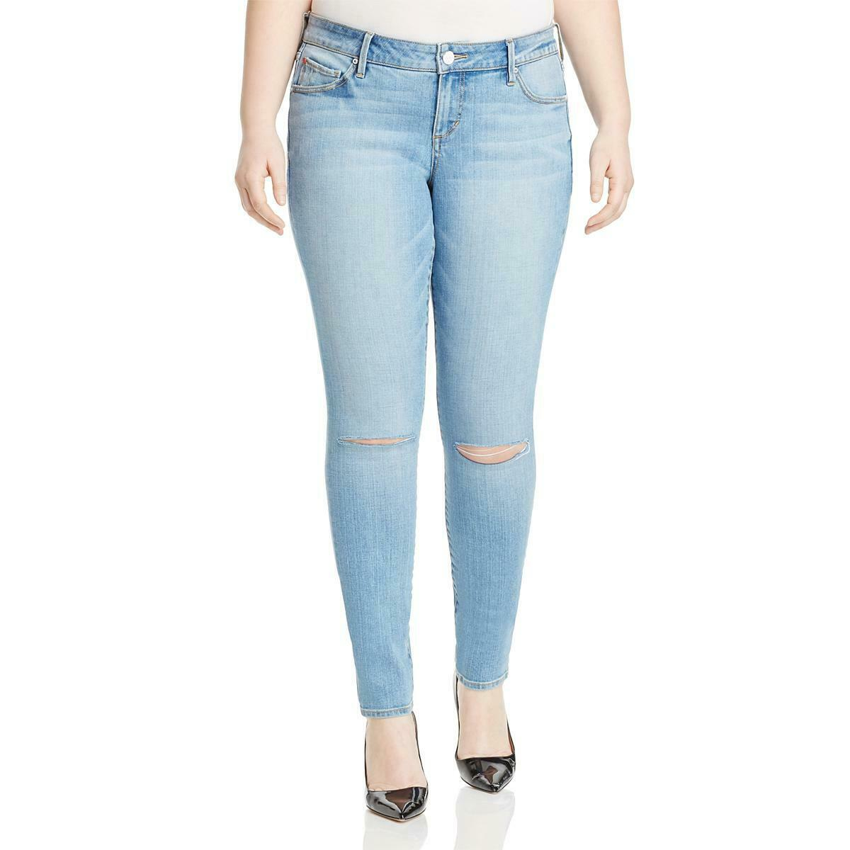 Slink Jeans Womens Anita bluee Distressed Skinny Jeans Plus 22 BHFO 1293