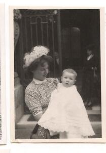 Détails Sur Femme Chapeau Fleurs Avec Enfant Bébé Bras Photo Ancienne Amateur An 1940 50