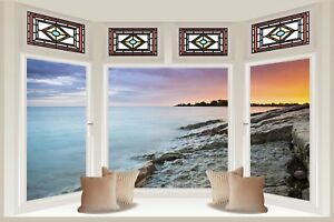 Huge-3D-Bay-Window-Red-Sky-Lake-View-Wall-Stickers-Film-Mural-Wallpaper-11