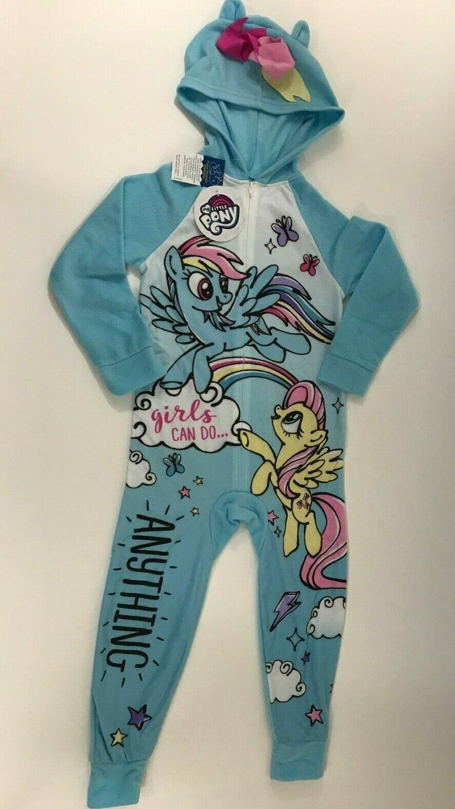 NWT 2T 3T 4T MY LITTLE PONY MOVIE Hooded Blanket Sleeper Pajamas Rainbow Dash!