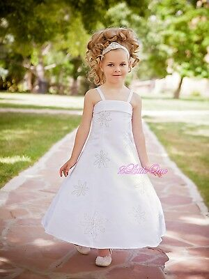 Satin Wedding Flower Girls Pageant Party Formal Dresses Shawl Size 3T-13 FG026