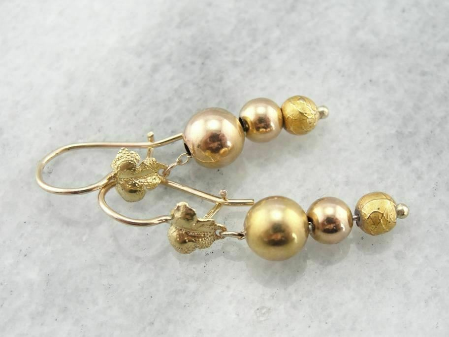 Tapering Antique Bead Drop Earrings