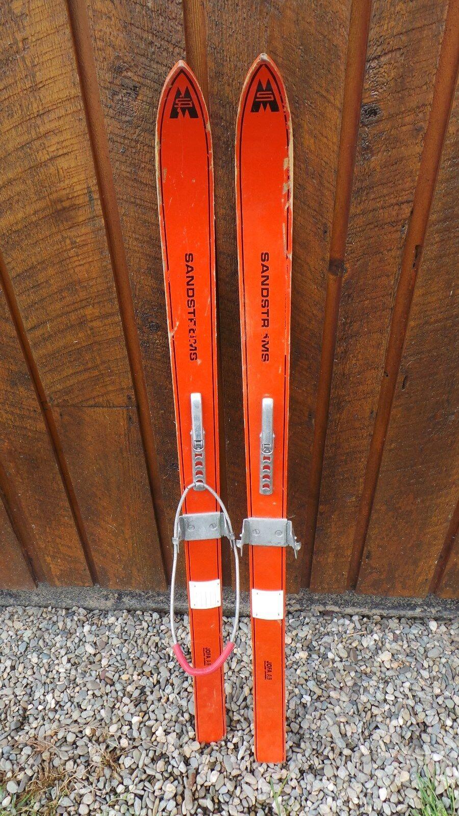 VINTAGE Wooden 70  Skis Has orange Finish Signed SANDSTROMS