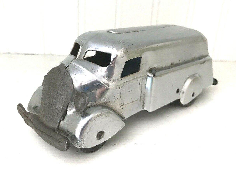 Vintage Pressed Steel Jouet Camion de livraison-Marx - 1940 Plaqué Chrome-Porte Arrière-RARE
