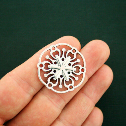 2 Flower Connector Charms Antique Silver Tone Large Size SC6215