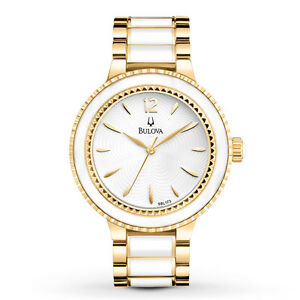 Bulova Women's White Dial Ceramic Gold Two-Tone Bracelet 39.5mm Watch 98L173