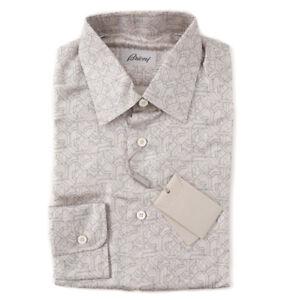 Nwt900 Ivory ontwerp Brioni jurk gedrukte shirt geometrische met zijden XS HeE2YIW9bD