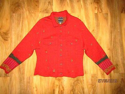 Aspirante Eva Claudi Donna & Rosso 100% Lana Pulsante Cardigan Blazer Taglia L-mostra Il Titolo Originale Avere Uno Stile Nazionale Unico