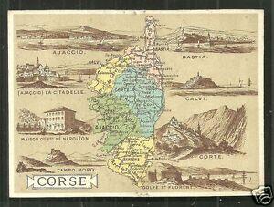 Map card Corsica Corse Napoleon Ajaccio Bastia France 1890s eBay