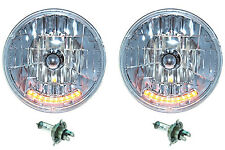"7"" Halogen Amber LED Turn Signal Running Lights Headlight Headlamp H4 Bulbs Pair"