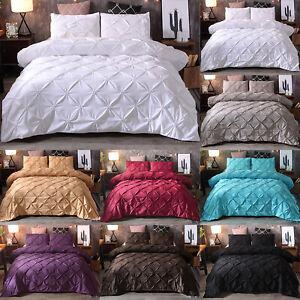 Pintuck-Cubierta-Del-Edredon-Edredon-Individual-Doble-King-Reina-conjuntos-de-cama-funda-de-almohada