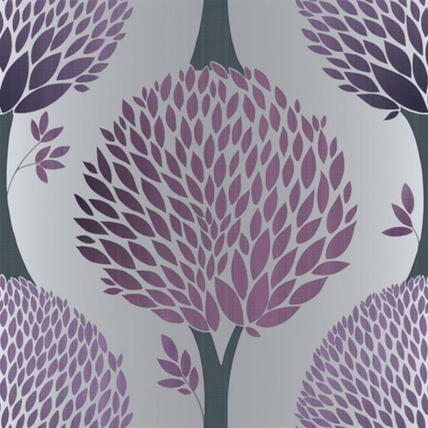 Very best G56377 - Tempo Trees Purple & Silver Galerie Wallpaper | eBay IM02