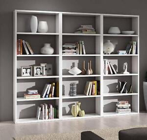 Mobile libreria parete moderna bianco frassinato casa for Mobile ufficio bianco